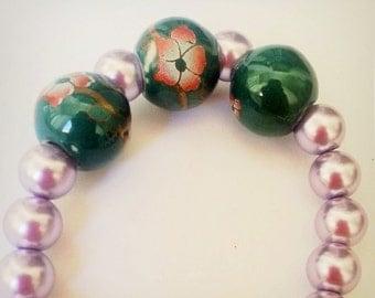 Deep green and mauve vintage bracelet