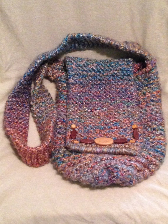 Knitted Sling Bag : Boho Hippie Loom Knit Sling Bag Cross Body Bag with Wooden Bead ...