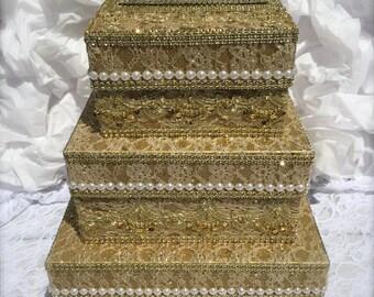 gold wedding card boxmoneyboxcardholderwedding box3 tier wedding box