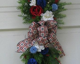Patriotic wreath, July 4th wreath, memorial day wreath, patriotic wreath, red white and blue wreath, American wreath, everyday wreath