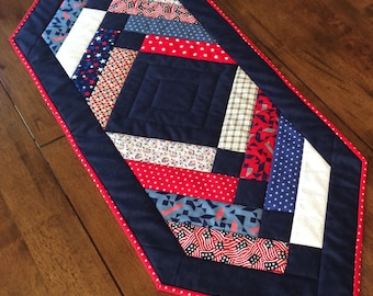 Red White Blue summer american  Patriotic Quilted Table Topper Runner Plaid