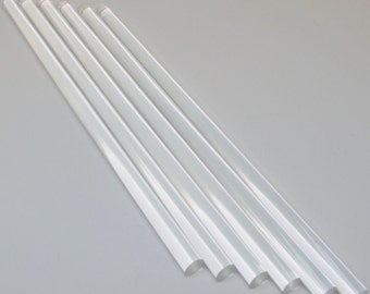 """6 Pc Clear Acrylic Plastic Extruded Rod Lucite Diameter 3/16"""" 1/4"""" 3/8"""" 1/2"""" by 12"""" Length"""