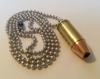 Custom 9mm Bullet Necklace - Keychain Pendant - Bullet Zipper Puller - ALL IN ONE! Very Handy! Handmade, One Of A Kind