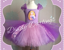 Rapunzel Tutu Dress. Inspired Handmade Tutu Dress. All Sizes Fully Customised. Princess Tutu Dress. Tangled Tutu Dress. Pink & Purple Dress