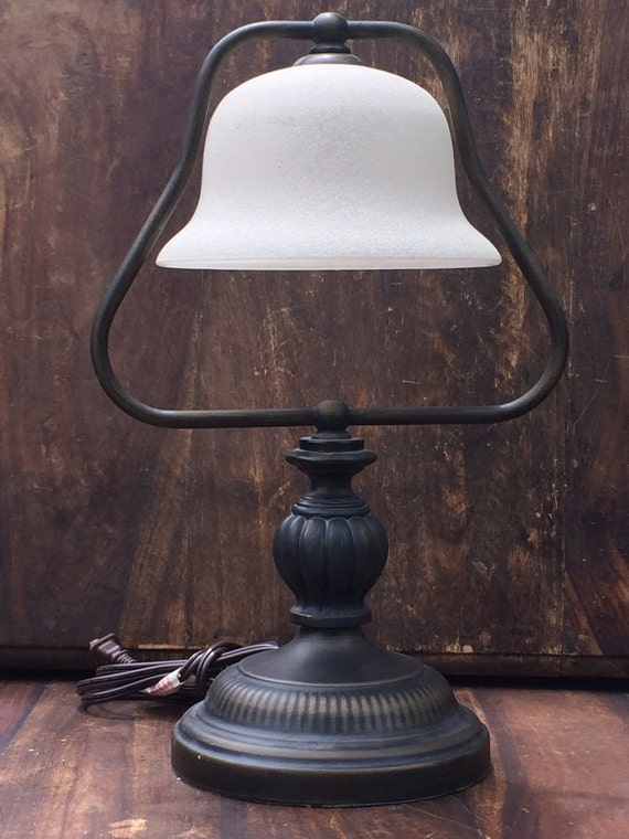 Vintage Metal Lamp With Glass Globe Copper Painted Metal Desk