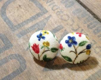 Summer Flower Fabric Button Earrings: 3/4 Inch