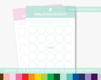 "Baby Shower Bingo 5"" x 7"" Printable Cards - 18 different colors to match any party! - INSTANT DOWNLOAD"