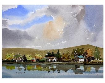 Little York Lake III, original watercolor