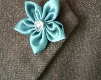 Aqua Blue Mens Lapel Flower  Lapel Flower Button  Men's Flower Lapel Wedding Lapel Flower