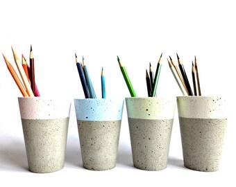 Pastel Concrete Pencil Holder Modern Cup Home Decor Minimalist Simple