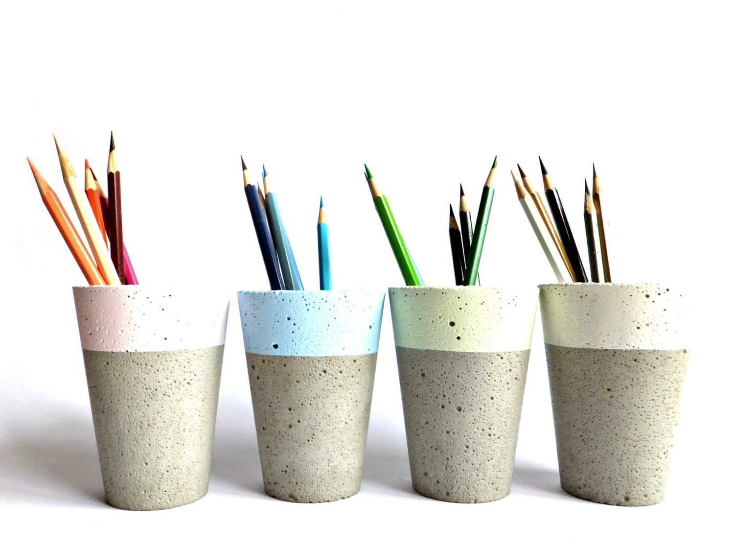 pastel concrete pencil holder modern cup home decor minimalist