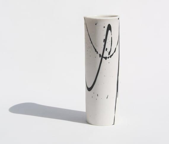 Tall modern vase black and white contemporary ceramic vase