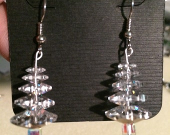 Clear crystal Swavorski crystal Christmas Tree earrings