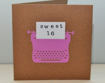Sweet 16 birthday card - retro typewriter