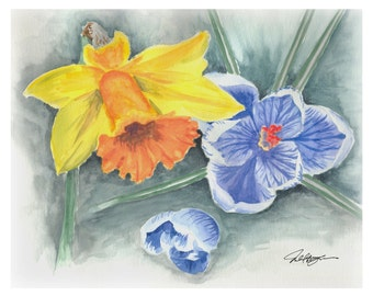 Watercolor Painting of Crocus and Daffodil Gift Card Set