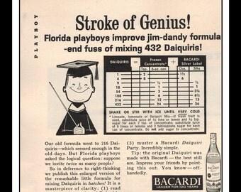 "Vintage Print Ad July 1962 : Bacardi Rum Texas Liquor Daiquiri Wall Art Decor 5.5"" x 5.5"" Advertisement"