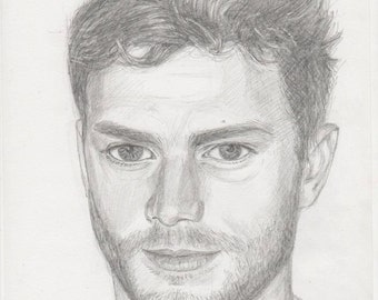 "Jamie Dornan original pencil portrait  drawing of 8 ""x12""  actor, model, musician, 50 shades of gray, UK, Famous Actors, hollywood stars"