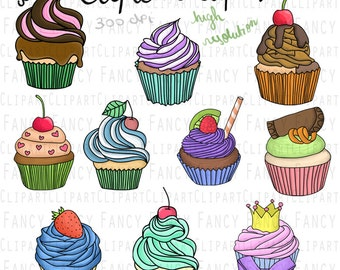 Instant Download - Cupcake Clipart Set - Vector, scrapbooking, doodle, drawing, birthday, digital files for personal and commercial use