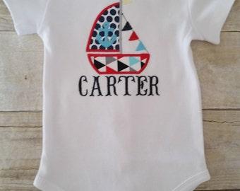 Sailboat onesie, nautiical onesie, nautical baby clothes, personalized onesie