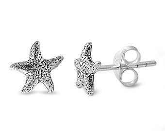 Mini Starfish Antique Style Stud Earrings Sterling Silver .925