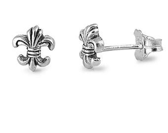 Tiny fleur de lis Small Stud Earrings Sterling Silver .925