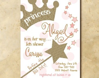 Princess Baby Shower Invitation/Girl Baby Shower Invitation/gold and pink, glitter/printable/Digital File/Wording can be changed