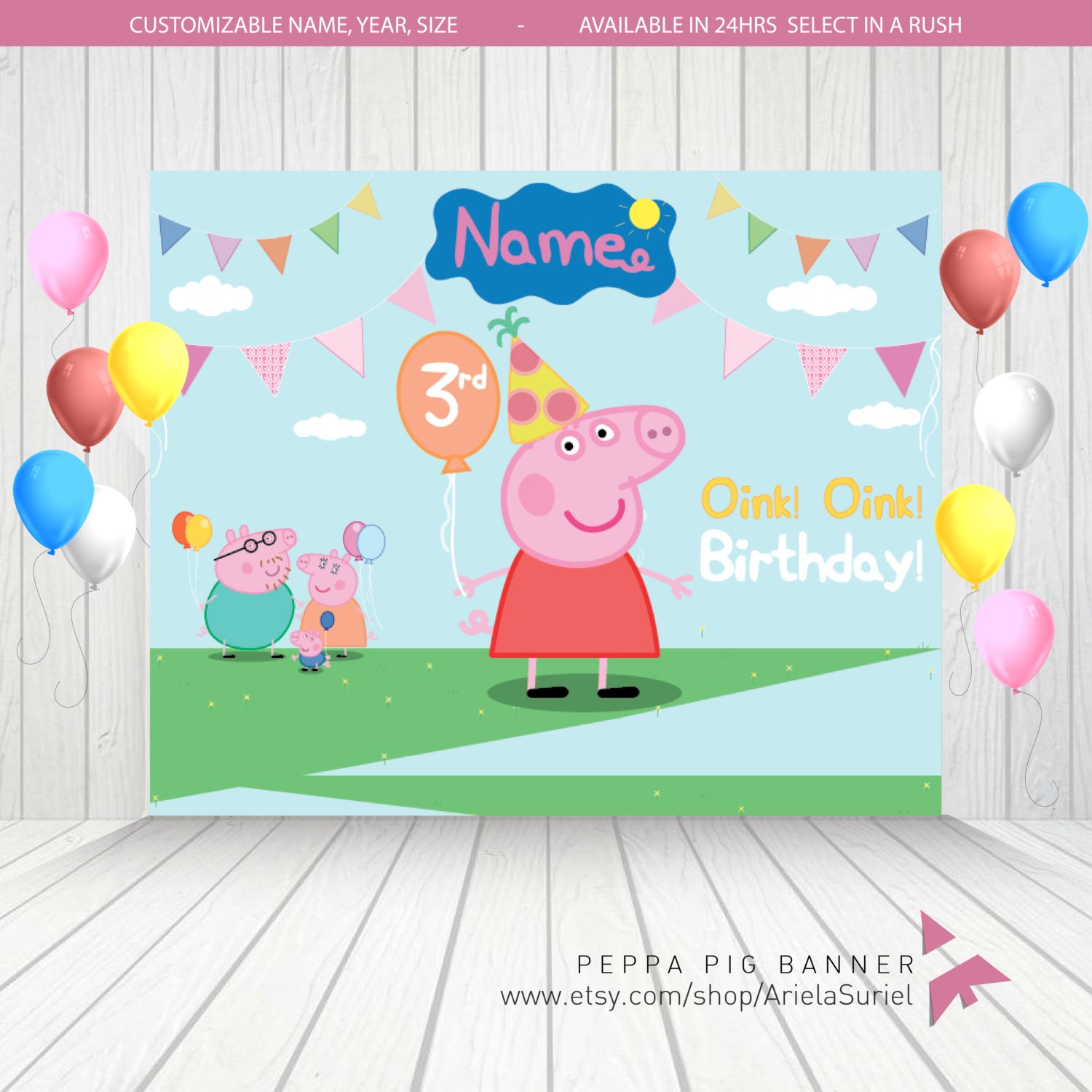 Personalized Peppa Pig Family Birthday Banner / By