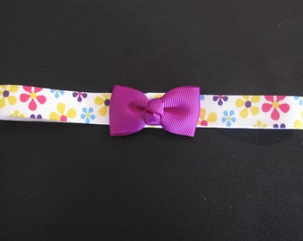 baby headband bright flowers print with purple, pink or blue
