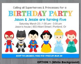 Superhero and Princess Invitation, Superhero and Princess Birthday Invitation, Superhero Princess Party