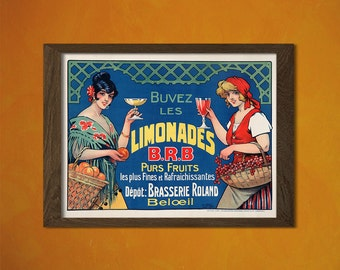 Limonades B.R.B. Advertising Print - Food Drinks Retro Advertising Design Art Print Quality Home Wall Decor Reproductiont