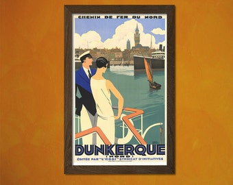 Dunkerque - Vintage Tourism Travel Poster Advertising Retro Wall Decor Office decoration   Reproductiont