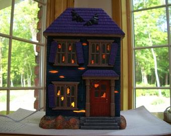 ceramic halloween lighted haunted house