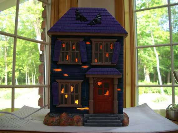 Ceramic Houses With Lights Ceramic Halloween Lighted