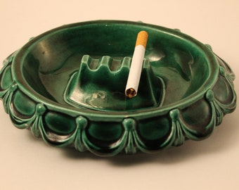 Ashtray Vintage Green Oblong Ceramic Ashtray, 1974 Arnels