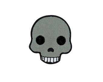 Skull Emoji Embroidered Iron On Patch - FREE SHIPPING