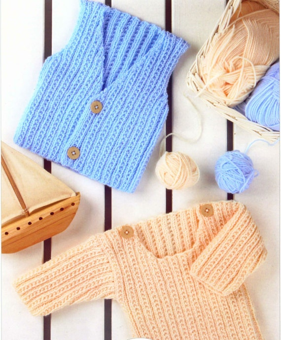 Vest Jumper Knitting Pattern : Knit Baby Child Sweater and Vest Vintage Knitting Pattern