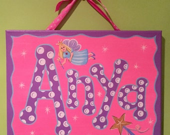 Hand painted personalized name canvas - fairy theme