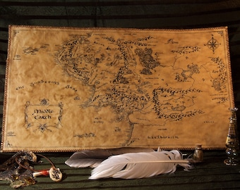 Big, handdrawn, realistic Middle Earth map. (Please, read description). Fully handmade. Imitates parchment.