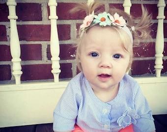 Pastel Daisy Headband, Daisy Halo, Pink Daisies,Blue Daisies,Elastic Headband