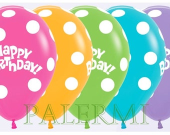 10x Polka Dot Balloons, Polka dot Balloons Latex, Polka Dot Birthday Balloons, Happy Birthday Polka Dots Balloons