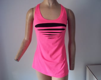 HOT PINK RACER back cut up tank.., upcycled...lycra...small