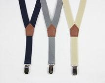 Navy blue/beige/gray/black  Boys Suspenders,3 clips Kids Suspenders,Baby Suspenders,Toddler Suspenders,mens suspenders, wedding suspenders