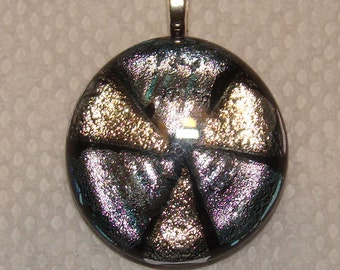 Pink, Silver and Gold Round Pendant Shimmering Shifting Colors