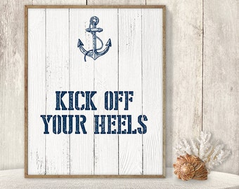 Kick Off Your Heels // Flip Flop Basket Sign DIY // Wedding Dance Poster // Nautical Navy Anchor PDF // Nautical Planks ▷ Instant Download