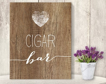 Cigar Bar Sign // Rustic Wedding Cigar Sign DIY // Rustic Wood Sign, White Calligraphy Printable PDF, Rustic Poster ▷ Instant Download