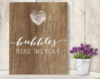 Bubbles, Please Take Some // Wedding Bubble Sign DIY // Rustic Wood Sign, White Calligraphy Printable PDF, Rustic Poster ▷ Instant Download