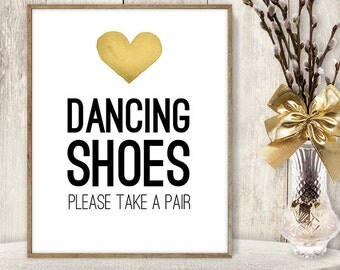 Dancing Shoes Sign / Take A Pair / Flip Flop Basket // Wedding Sign DIY // Gold Heart, Watercolor Heart PDF Poster ▷ Instant Download