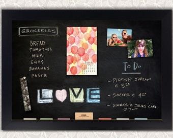 Chelsea Black Satin Framed Magnetic Chalkboard