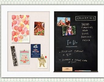 Pearl White Framed Combo Board --- Magnetic Chalkboard + Fabric Board