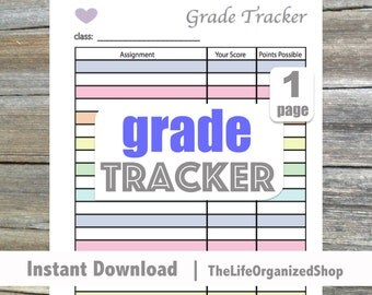 Grade Tracker  / Student Planner / School Planner - From The Luminous Collection - Keep track of all of your assignments!